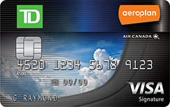 TD Aeroplan Visa Signature credit card for Air Canada miles