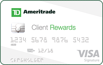TD Ameritrade client rewards credit card for cashback