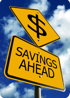 Savings ahead - image of dollar sign on a signpost