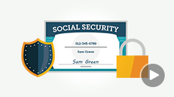 Icons of a shield, a lock, and a social security certificate