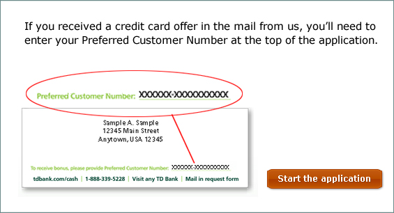 Td business solutions visa signature credit card if you received a credit card offer in the mail from us locate your preferred customer number at the bottom of the letter and enter the number at the top reheart Image collections